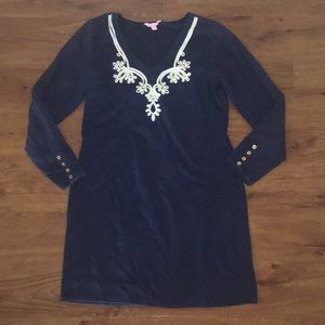 Lilly pulitzer navy blue cotton dress XL guc lace